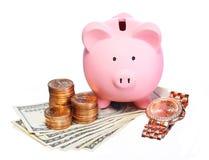 Spaarvarken met Geld en Gouden Horloge  Royalty-vrije Stock Foto