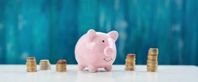 Spaarvarken met gestapelde muntstukken Royalty-vrije Stock Fotografie