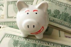Spaarvarken met glimlach en contant geld Stock Afbeeldingen