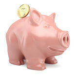 Spaarvarken met gouden muntstuk Royalty-vrije Stock Foto