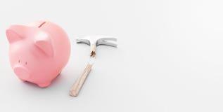 Spaarvarken met hamer, die geld besparen royalty-vrije stock fotografie