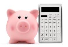 Spaarvarken met het concept en de besparingen van de calculatorboekhouding Stock Foto's