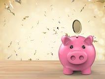 Spaarvarken met het gouden muntstuk vallen Stock Foto