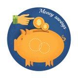 Spaarvarken met muntstuk en handpictogram van de het geldbesparing van de wijzer het Uitstekende retro stijl op blauwe cirkelacht Stock Foto