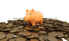 Spaarvarken met muntstukken Stock Fotografie