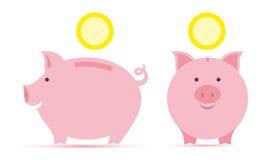 Spaarvarken met muntstukken Stock Foto