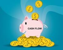 Spaarvarken met muntstukken, financiële besparingen en bankwezeneconomie, stortingsinvestering op lange termijn Illustratieconcep Royalty-vrije Stock Afbeeldingen
