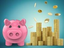 Spaarvarken met stapel gouden muntstukken Royalty-vrije Stock Afbeeldingen
