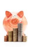 Spaarvarken met stapels van euro muntstukken op witte achtergrond Stock Foto