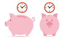 Spaarvarken met tijd Stock Afbeeldingen