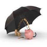 Spaarvarken onder paraplu.