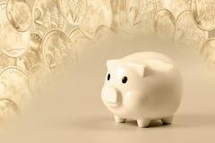 Spaarvarken op achtergrond van muntstukken Stock Afbeelding