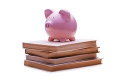 Spaarvarken op de bovenkant van een stapel van boeken wordt geplaatst dat Stock Foto's