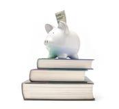 Spaarvarken op een stapel boeken Stock Foto