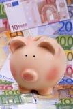 Spaarvarken op euro bankbiljetten Royalty-vrije Stock Afbeeldingen