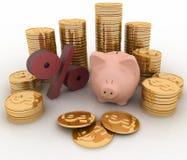Spaarvarken, percenten en geld Stock Afbeelding