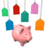 Spaarvarken Shopmarks Stock Afbeelding