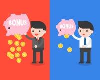 Spaarvarken van de zakenman het dragende bonus en gouden muntstukken, die mon sparen vector illustratie