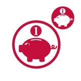 Spaarvarken, van het geldbesparingen van het muntstukkencontante geld het thema vector eenvoudige enig Royalty-vrije Stock Afbeeldingen
