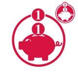Spaarvarken, van het geldbesparingen van het muntstukkencontante geld het thema vector eenvoudige enig Royalty-vrije Stock Afbeelding