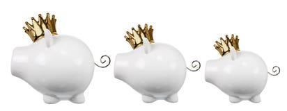 Spaarvarkens met Kroon royalty-vrije stock fotografie