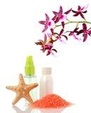 Spabehandling och röd orchid Arkivfoton