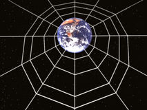 Space. Planet earth is obvolute a spider web stock illustration