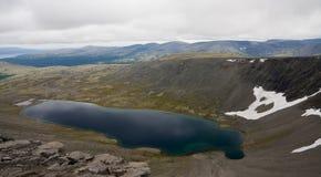 Space. Akademicheskoe lake behind the Polar Circle. Khibini mountains, Russia Stock Photo