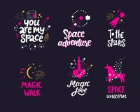Space hand drawn lettering quotes royalty free illustration