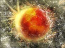 Space. Abstract star in space landscape, orange blast Stock Photo
