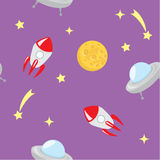 Space. Seamless pattern of outer space stock illustration