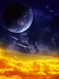 Space. A beautiful space scene with planet and nebula stock illustration