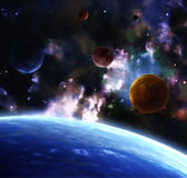 Space. A beautiful space scene with planets and nebula Stock Photos