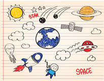 Space. Alien cartoon drawing outline Stock Photography