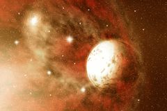 Space. Fiery Space. Moon and stars Royalty Free Stock Photo