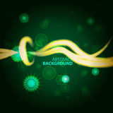 Space Abstract green background with glowing white rays and star. S Royalty Free Stock Images