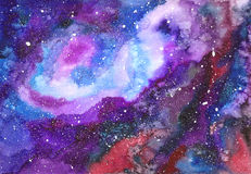 Space abstract hand painted watercolor background. Hand draw bright multicolor painted galaxy with stars. Texture of night sky Royalty Free Stock Photo