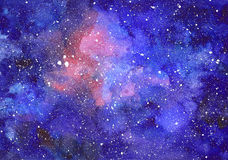 Space abstract hand painted watercolor background. Hand draw painted galaxy with stars. Texture of night sky Stock Photography