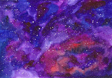 Space abstract hand painted watercolor background. Texture of night sky. Hand draw galaxy with stars Royalty Free Stock Photos