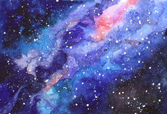 Space abstract hand painted watercolor background. Texture of night sky. Milky way. Hand draw painted galaxy with stars Royalty Free Stock Image