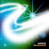 Space Abstract red background with glowing white rays and stars.  Royalty Free Stock Photography