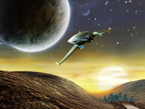Space adventure. Futuristic spaceship traveling in a distant solar system. Digital illustration Stock Photography