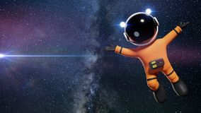 3d cartoon astronaut character with orange space suit presenting an empty space lit by the Sun and the stars of the galaxy 3d ren. Space adventure of an adorable Stock Photo