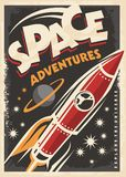 Space adventures, retro poster design Stock Photo