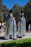 Space Age Stilt Walkers Stock Photo