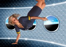 Space air hostess. Conceptual image showing a space air hostess in zero gravity  with a view out of the spaceship window of planet earth Royalty Free Stock Photo