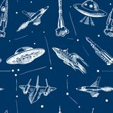 Space aircraft seamless pattern. Space aircraft rocket and ufo flying in stars sketch seamless pattern vector illustration Vector Illustration