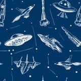 Space aircraft seamless pattern Stock Photos