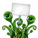 Space Alien Creature Sign. Space Alien Creature from outer space or a mutant holding a blank sign as a green creepy UFO icon presenting a message as a fantasy stock illustration
