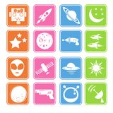 Space and Alien Flat Icon Royalty Free Stock Photos